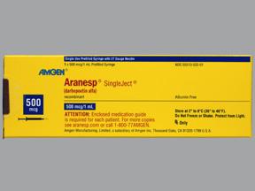 Aranesp 500mcg Prefilled Syringe 1 Bx 4 Cs